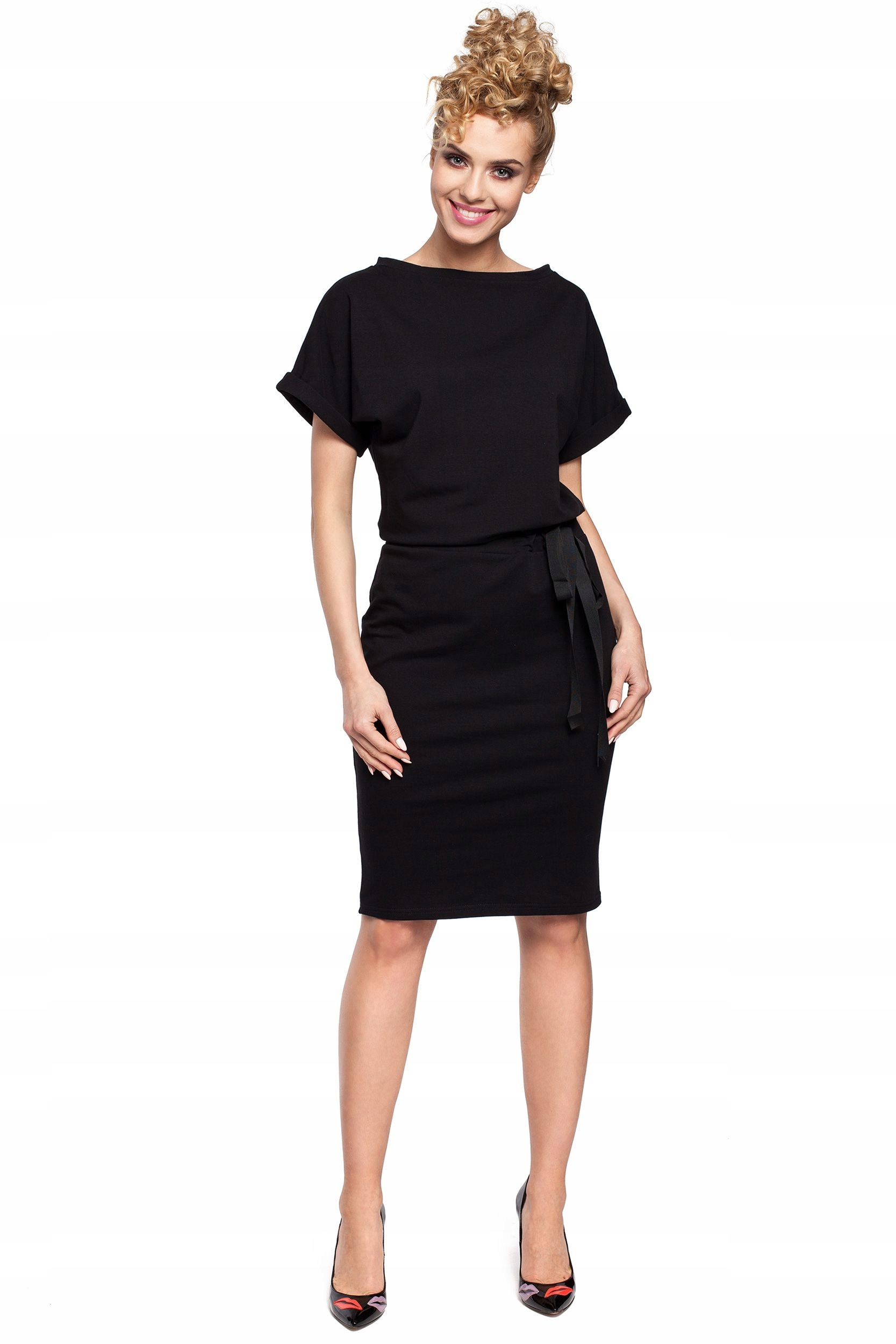 M284 Sukienka midi z wiązaniem w pasie- czarna S/m
