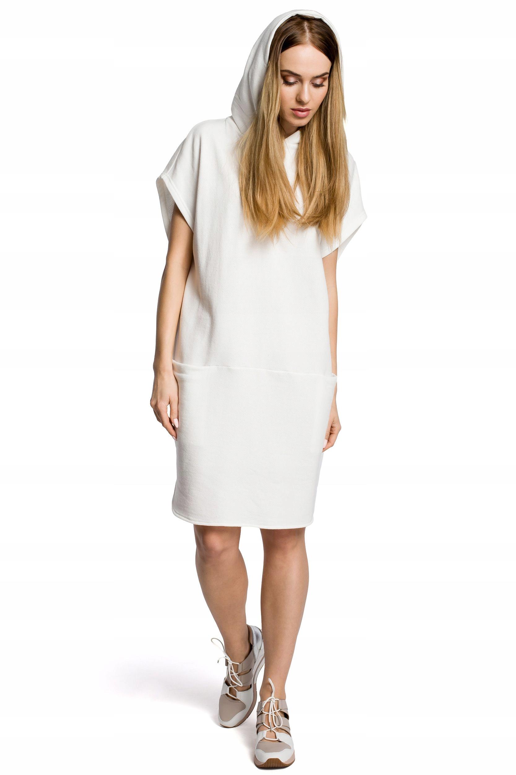 M368 Sukienka z kapturem i kieszeniami - ecru XXL/