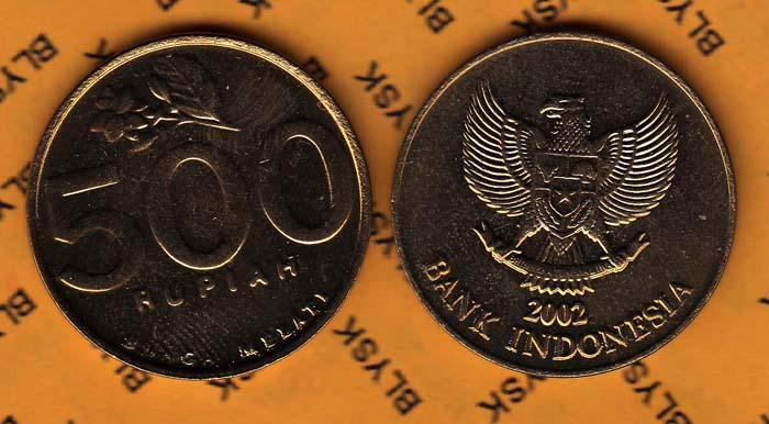 INDONEZJA /KM-59/ 500 RUPIAH 2002 Jaśmin Stan I/-I