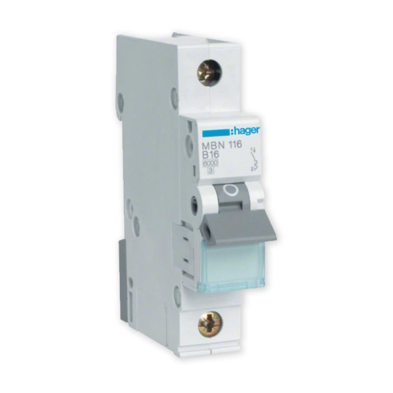 HAGER Выключатель максимального тока 1P B16A MBN116E