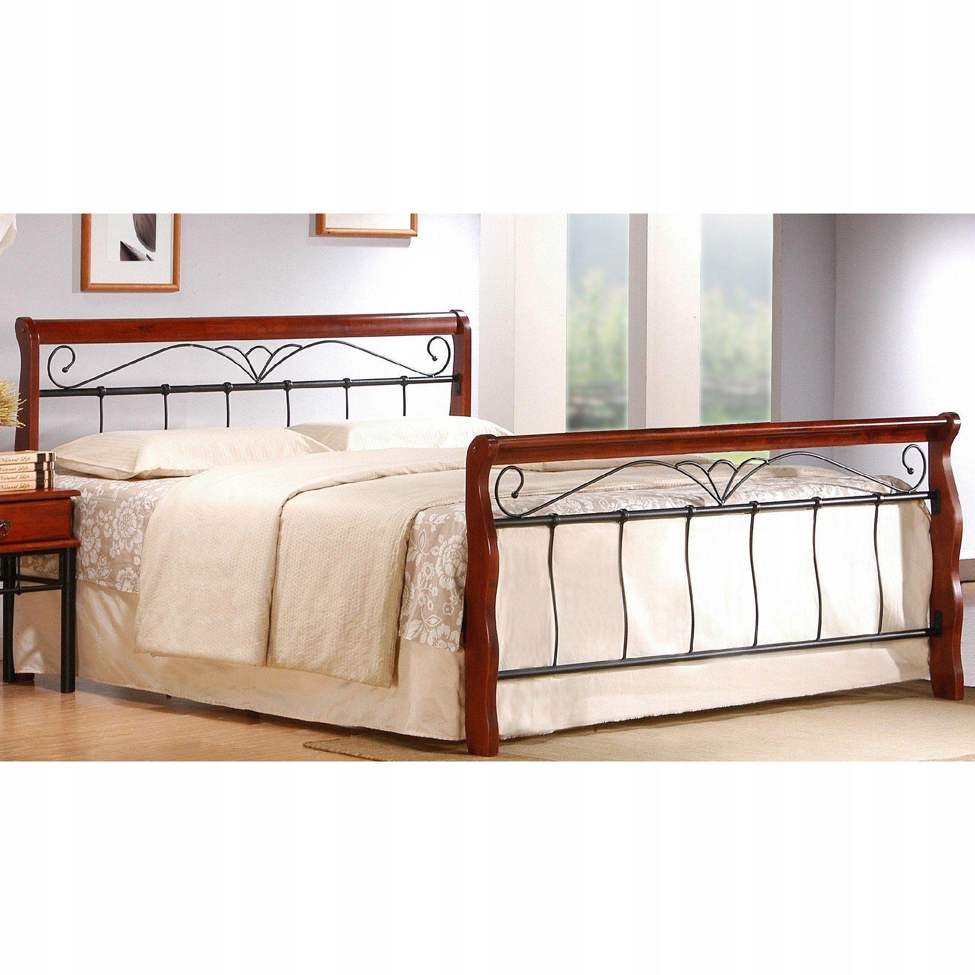 Retro posteľ 160 x 200 VERONICA Drevo / Kov