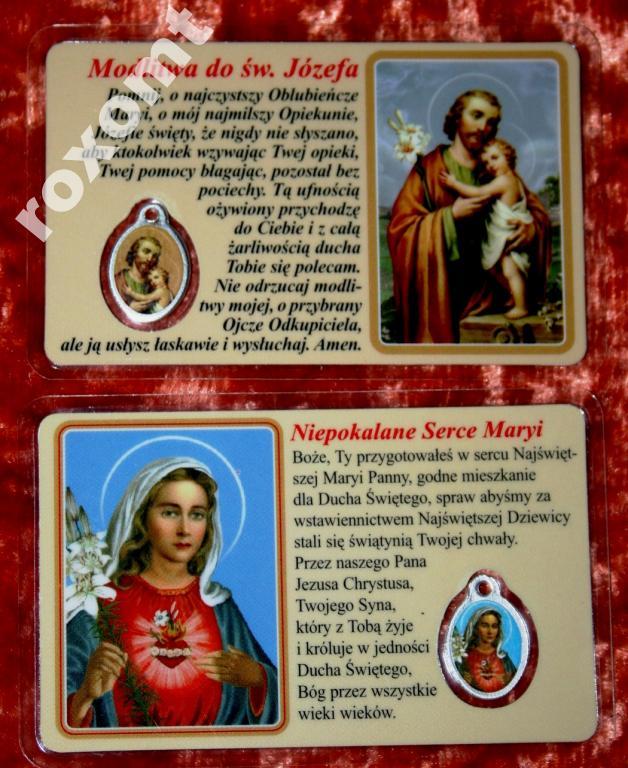 Svätý Józef a laminovaná Mária. Obrázok + medailu