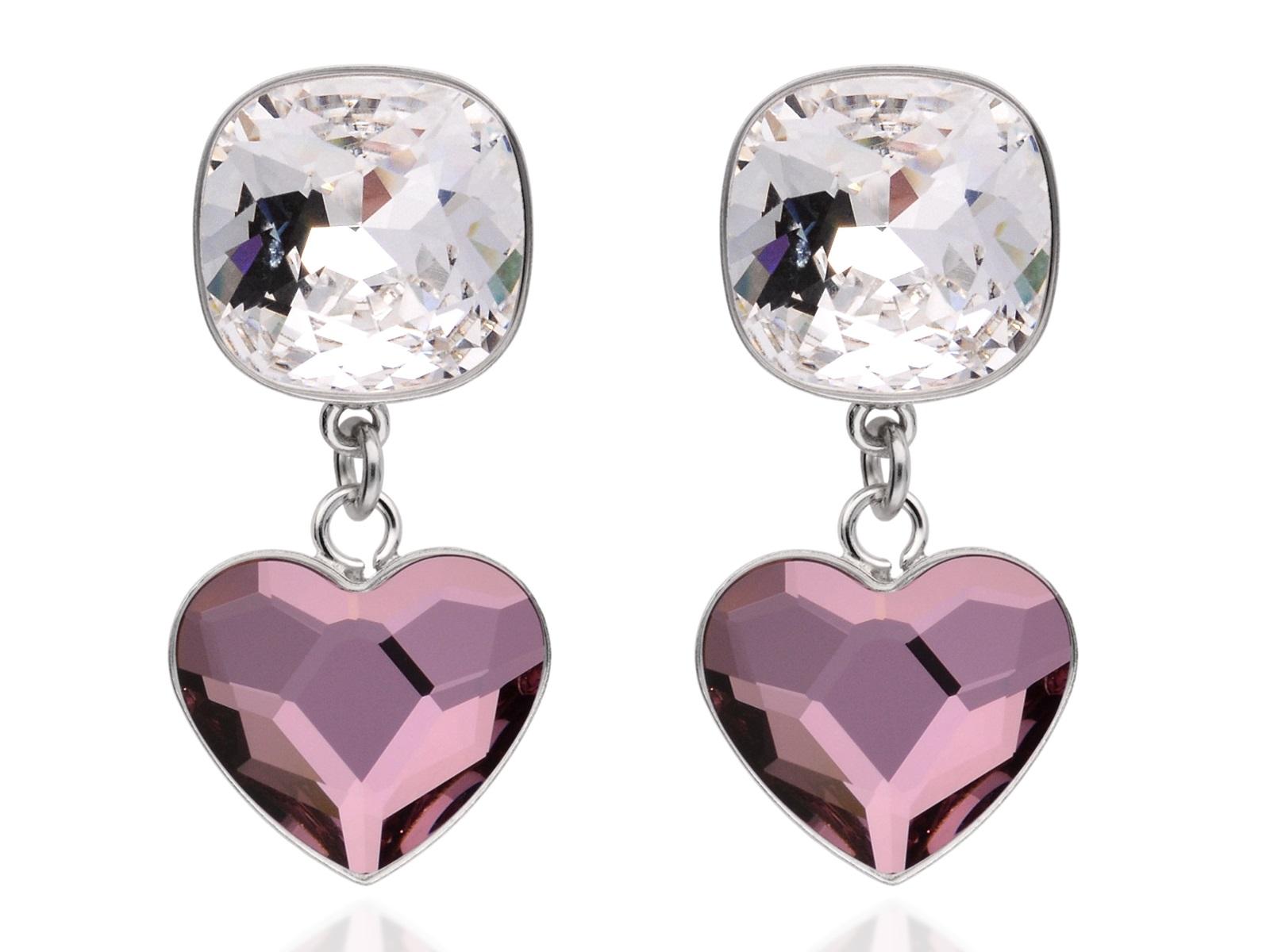 Strieborné náušnice ružové srdce biela, Swarovski