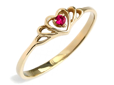 Item GOLD 585 RING HEART WITH RUBY and sm. 24 hours