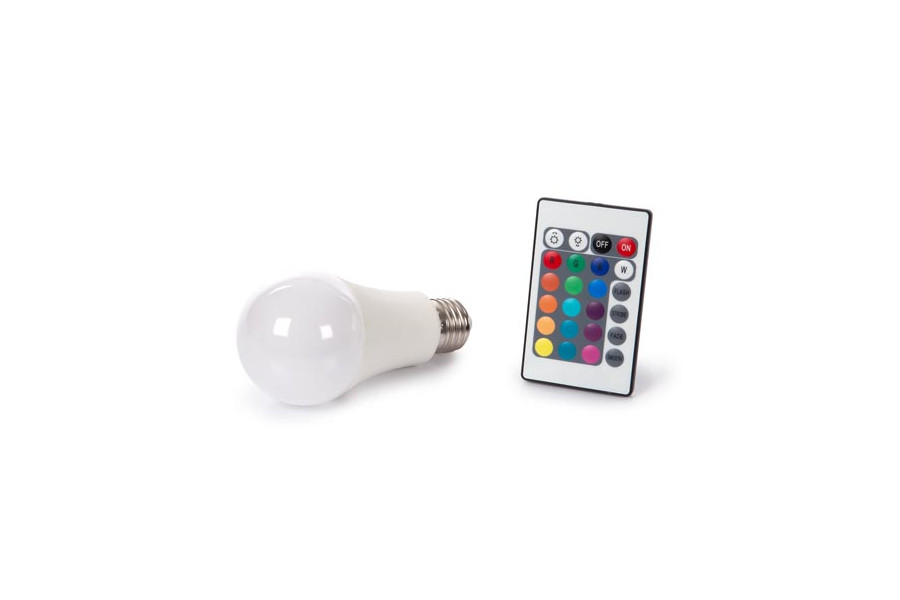 LED 10W E27 Teplý biely RGB pilot