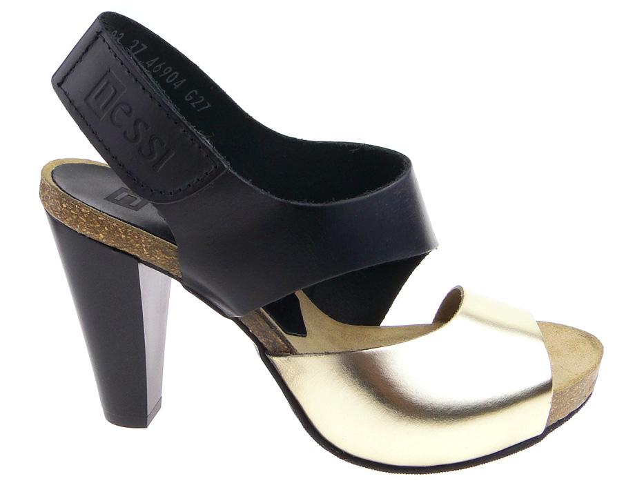 Nessi sandały słupek 42103 czarny złoty 37