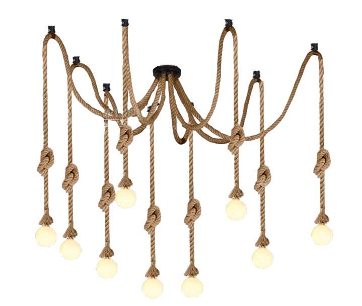 SPIDER LAMPA KÁBEL JUTOWY VINTAGE LOFT v 8 ruky