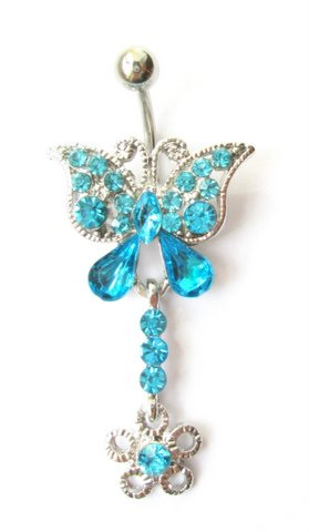 Item Earring in the navel BUTTERFLY TURQUOISE steel 316L 1,6/10 mm