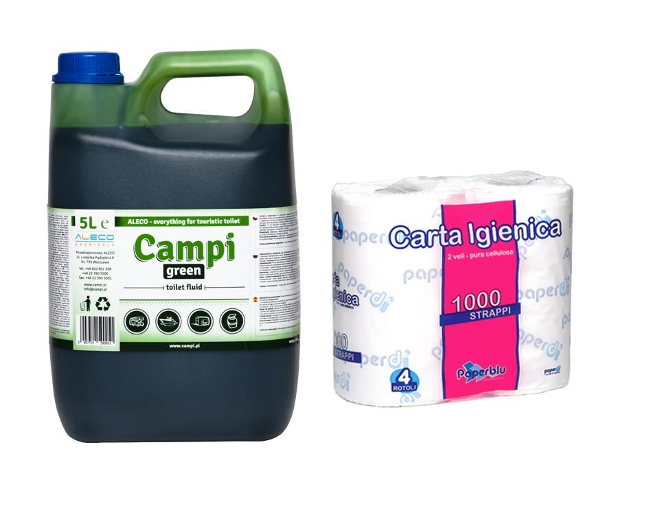 Turistické WC Kvapalina Campi Green 5L Papier