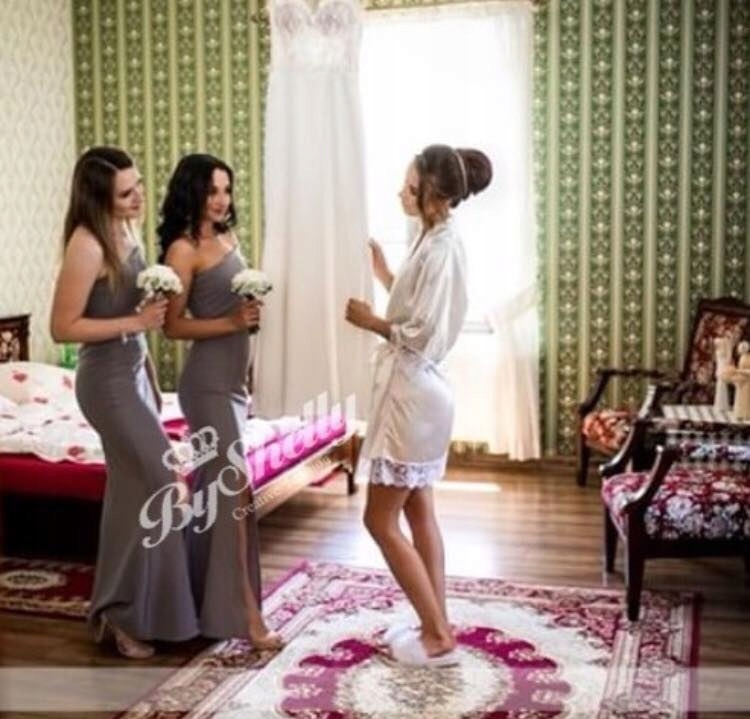 Купить Халат свадебный с белым кружевом, подарок XXL на Otpravka - цены и фото - доставка из Польши и стран Европы в Украину.