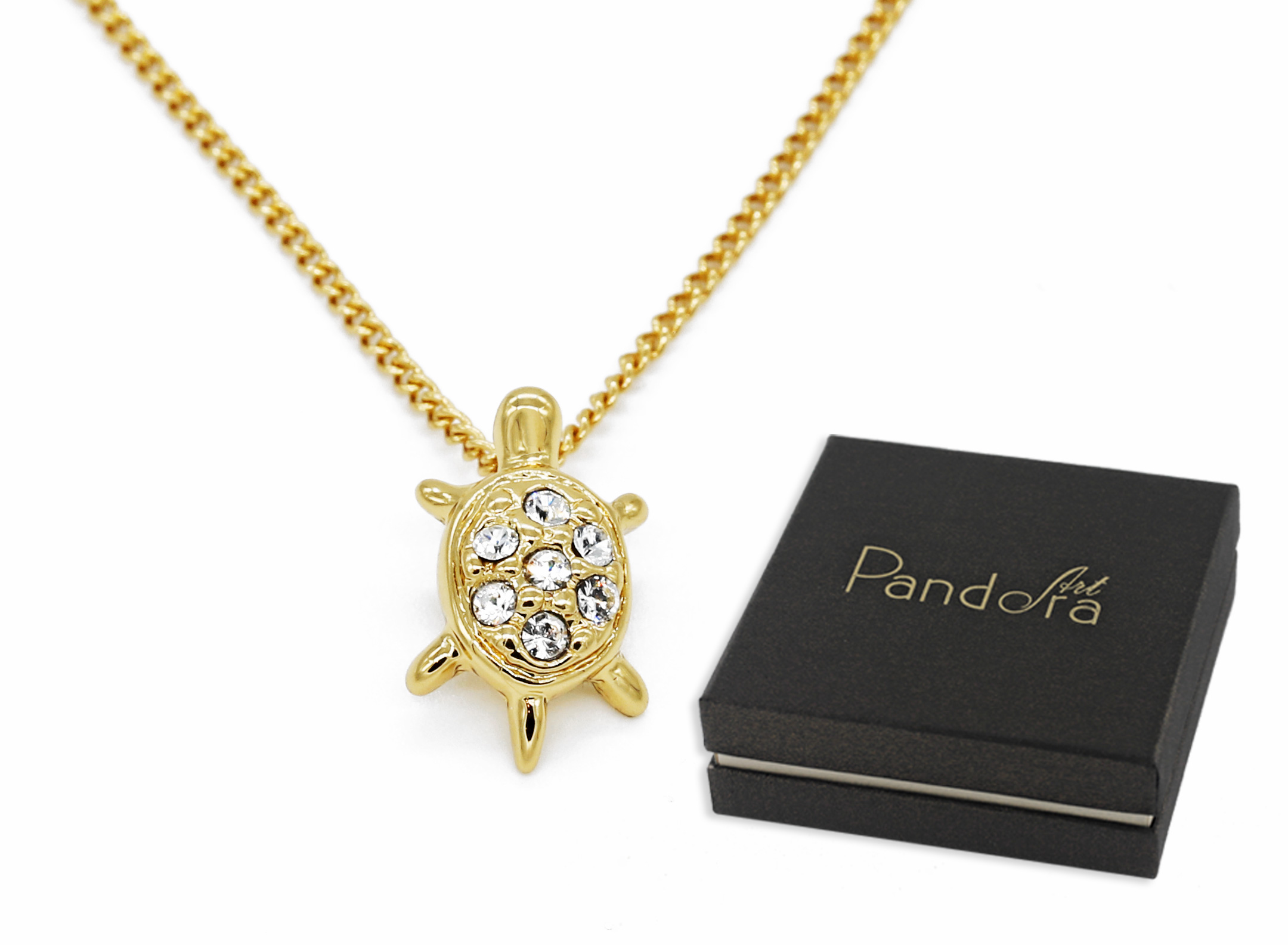 Złoty Naszyjnik Żółwik Venus Kryształy Swarovski