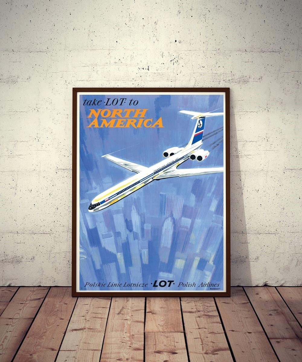 Plakat Take LOT to North America - J. Grabiański