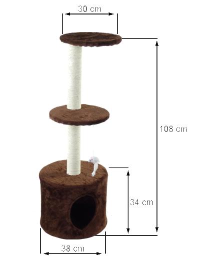 Škrabadlo pre mačky domáce brloh 108 [cm] F-03 Typ škrabadlo s nízkym poškriabaním pre stieracie podložky pre vežu