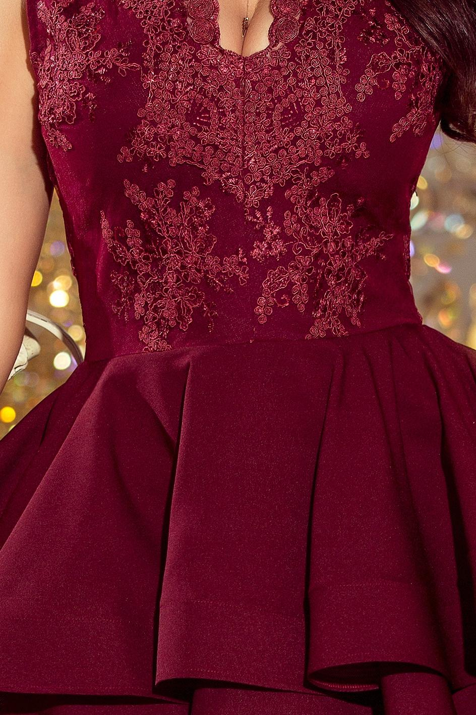 EKSKLUZYWNA sukienka koronkowy dekolt BORDOWA L