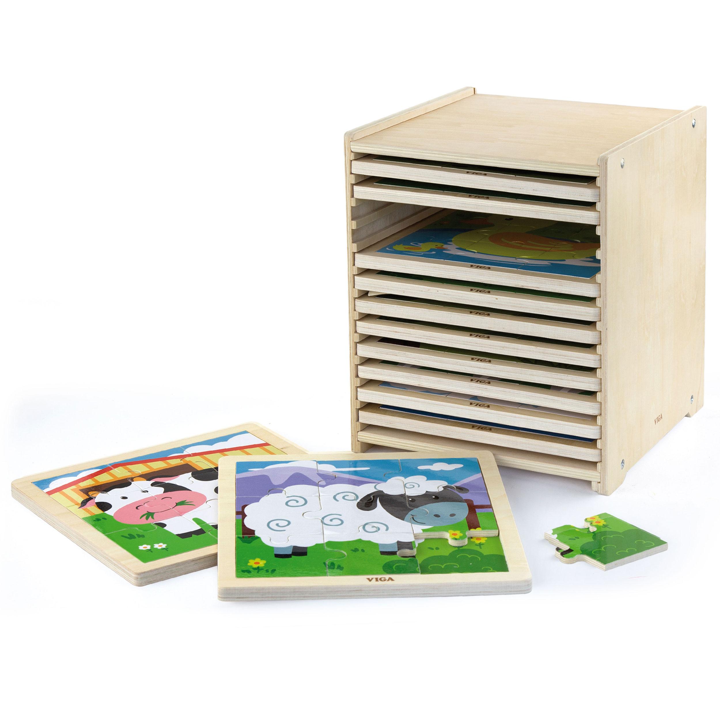Viga Toys Jigsaw Puzzle Blocks Drevené puzzle 108 El
