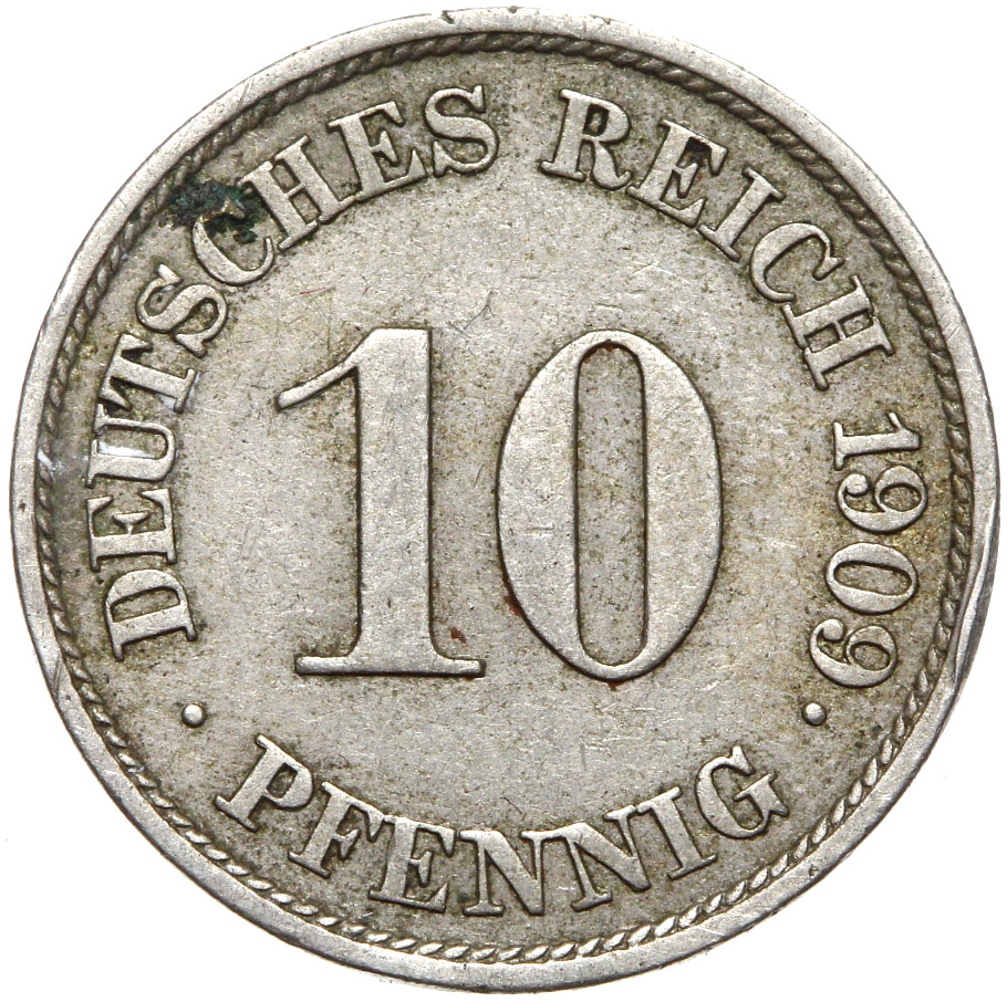 + Nemecko - Empire - 10 Pfennig 1909 J - Zriedkavé