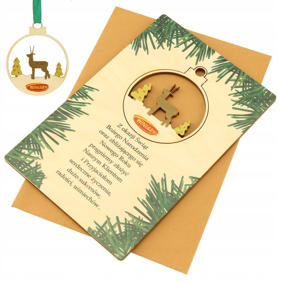 Vianočná karta. Drevené obchodné logo Bauble