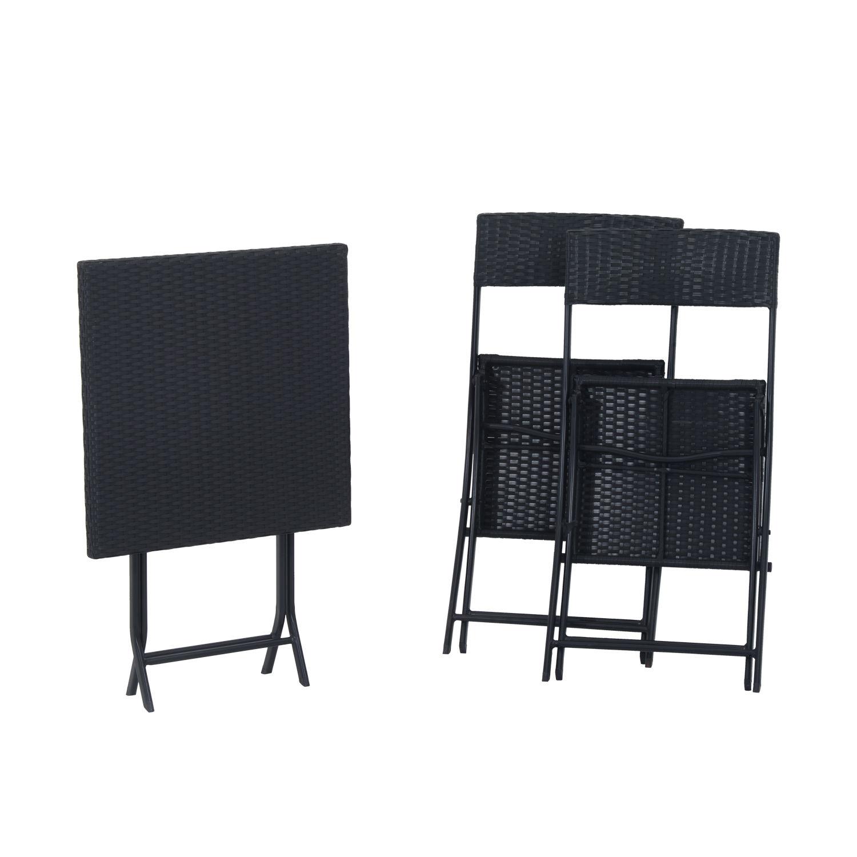 Ratanový záhradný nábytok so stolom a stoličkami čierny EAN 4250871214525
