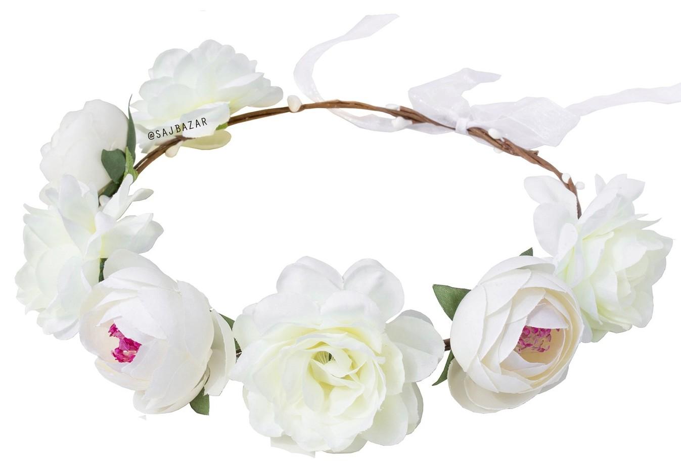 Item Wreath hair FLOWERS boho peonies peony CREAM