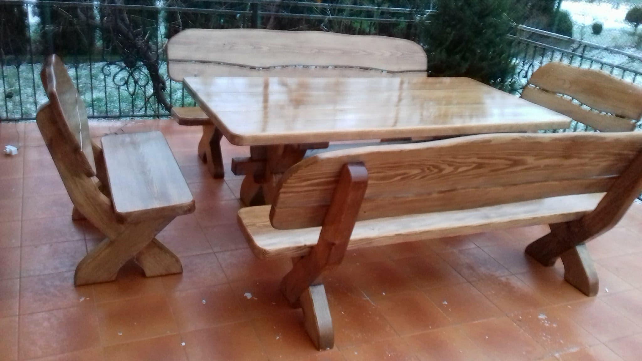 Meble Ogrodowe Drewniane Stol Z Bala Zestawy 7714297085 Allegro Pl