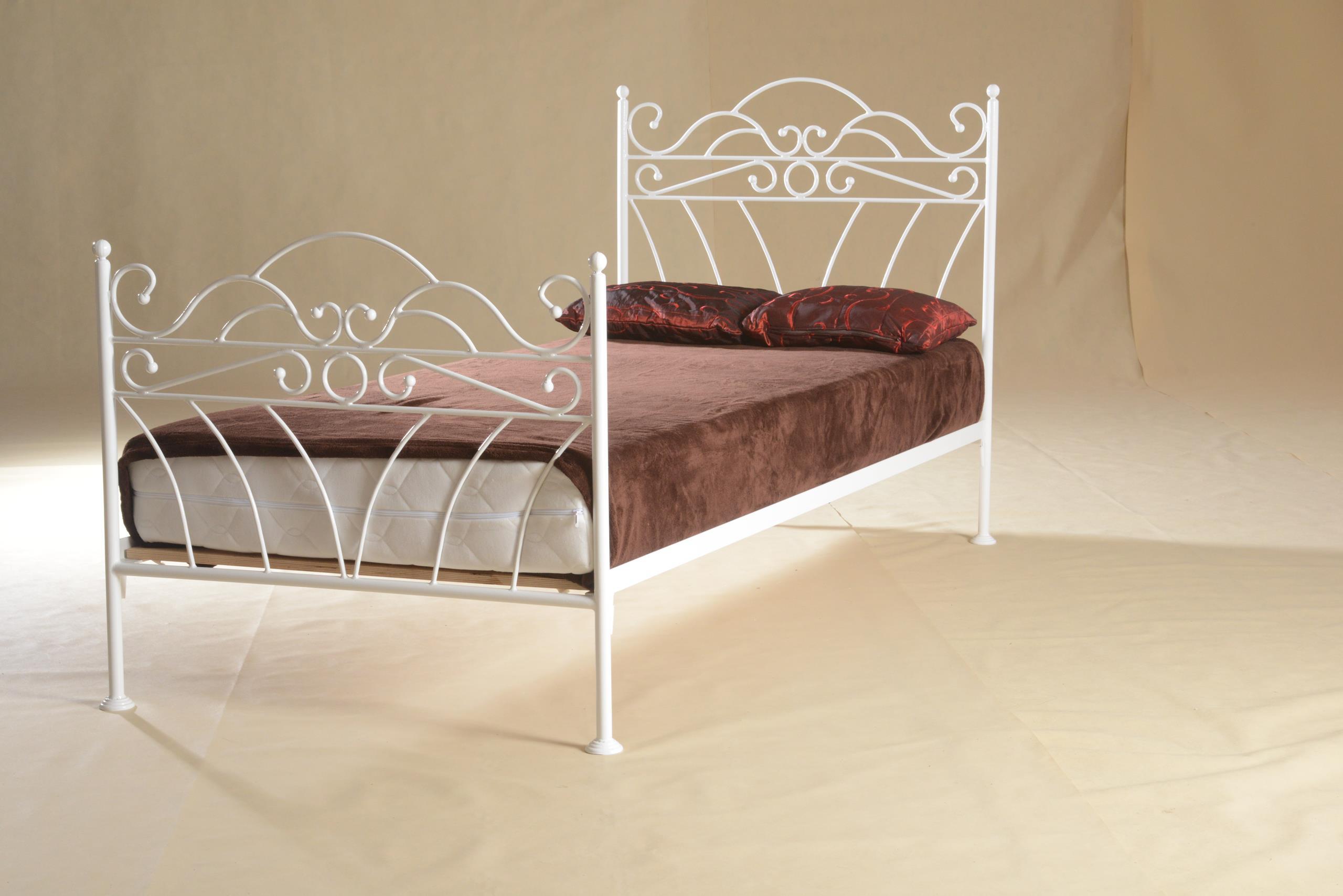 łóżko Metalowe Białe Wiking 90x200 Glamour Kute