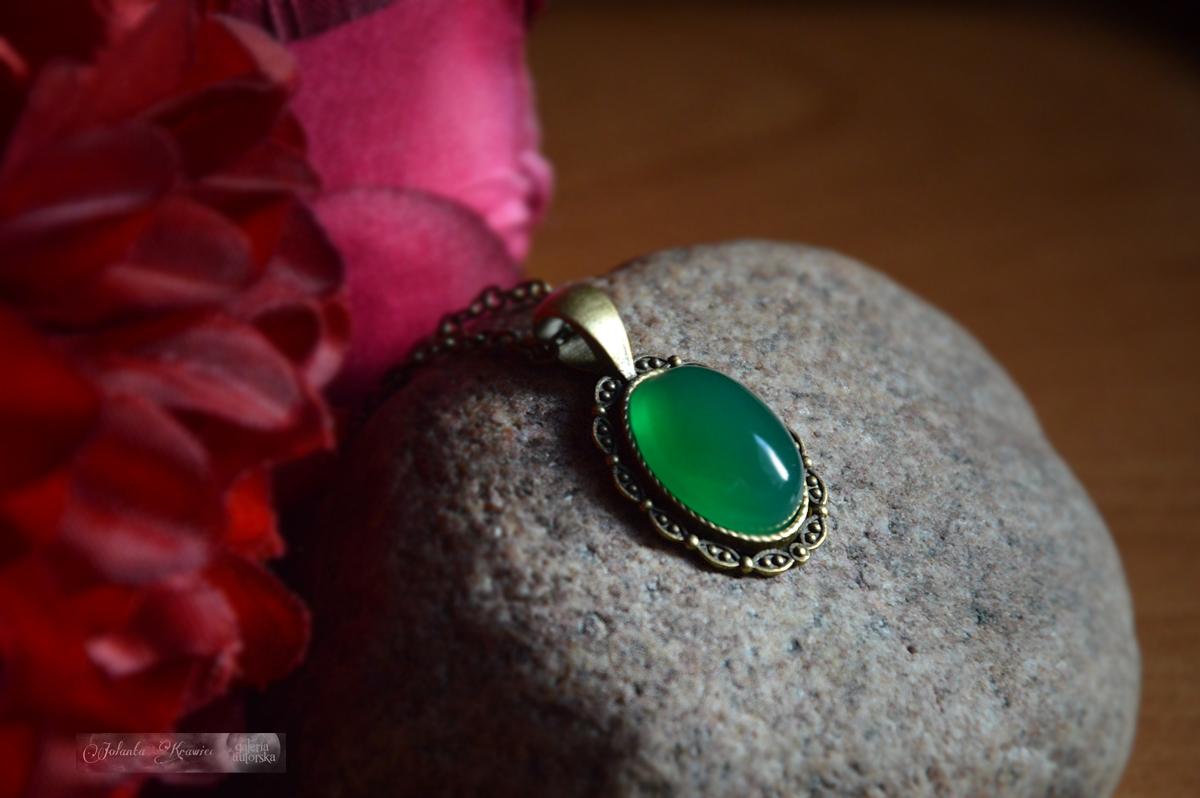 Brazílsky zelená achát Medailón Prívesok Vintage