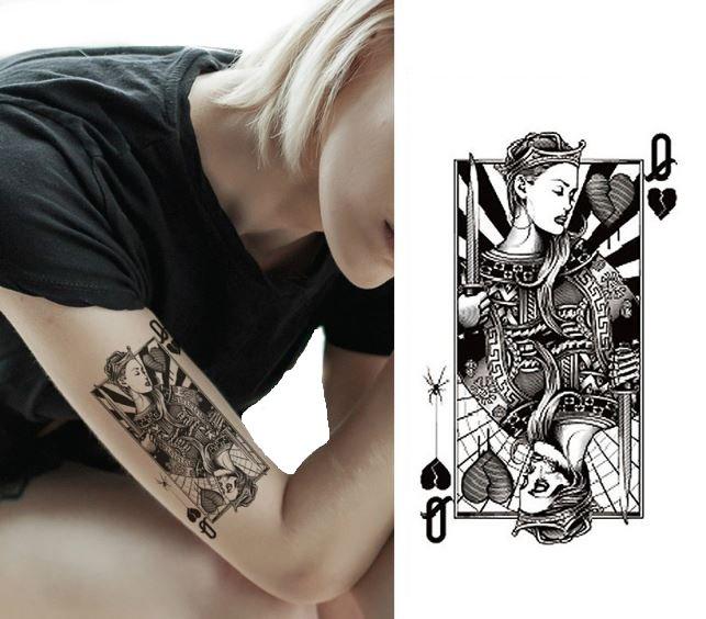 Tatuaż Z Kartą Damą Dama Czerwień Karta Czaszka 59