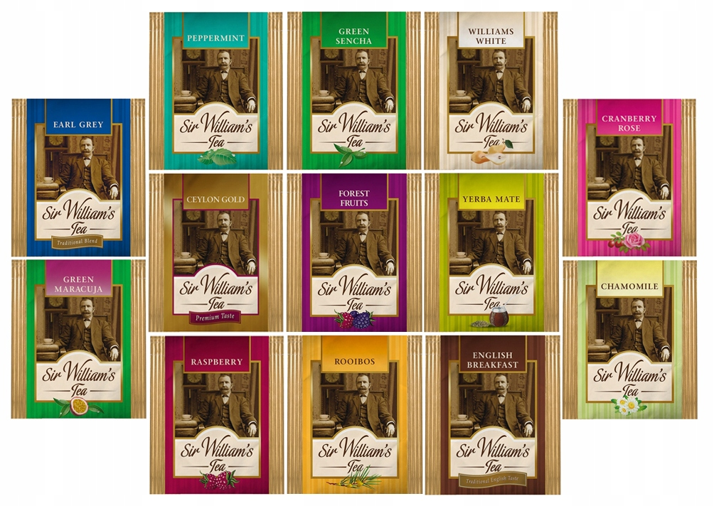 Сэр Уильямс Tea комплект 100 чаи с 14 ароматов