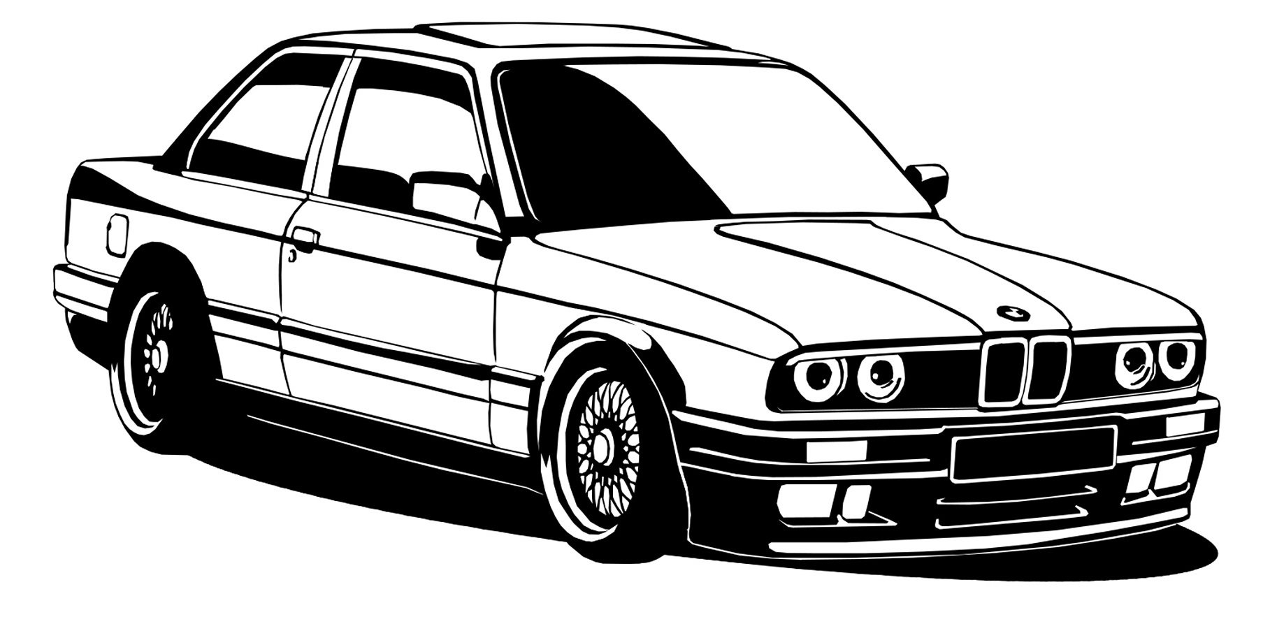 STENY ODTLAČKOVÝ BMW E30 NEMECKÉHO VINTAGE 25X50CM