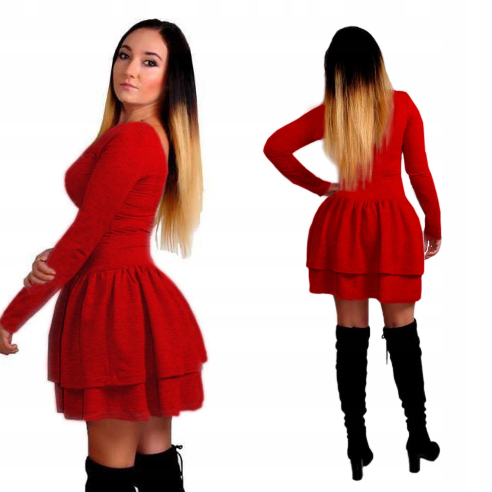 d415f62870 Sukienka dresowa z Falbankami rękaw 2 kolory XS S 7047821527 - Allegro.pl