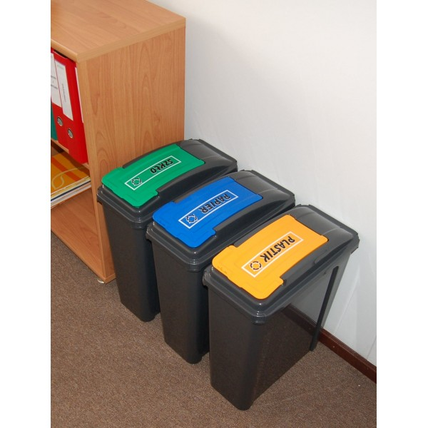 Item baskets for sorting garbage for home, office 3x25 L