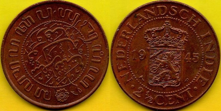INDONEZJA 2 1/2 Cents 1945 r.