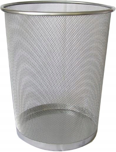 Item BASKET OFFICE METAL MESH 19L CONTAINER silver