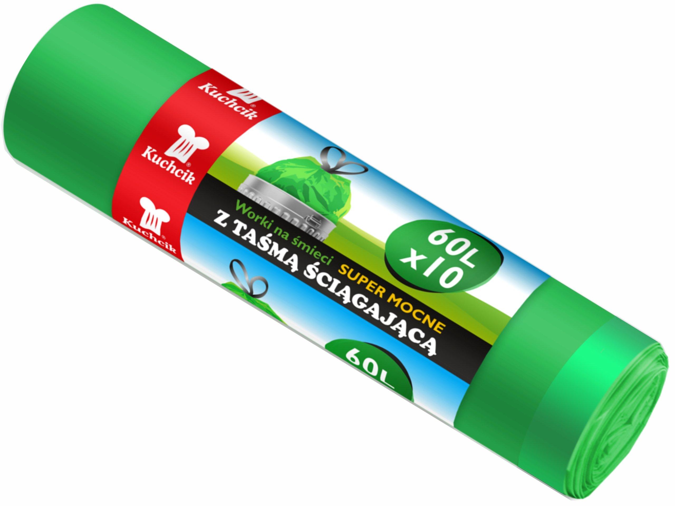 Мешки для мусора с лентой супер-сильные зеленые 60Л 10