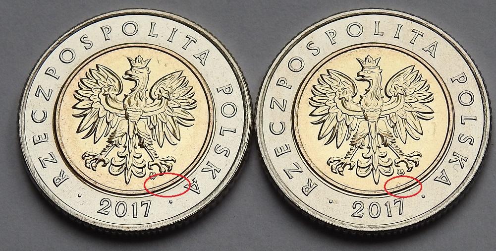 Тип монеты 5 злотых 2017 с двойным краем