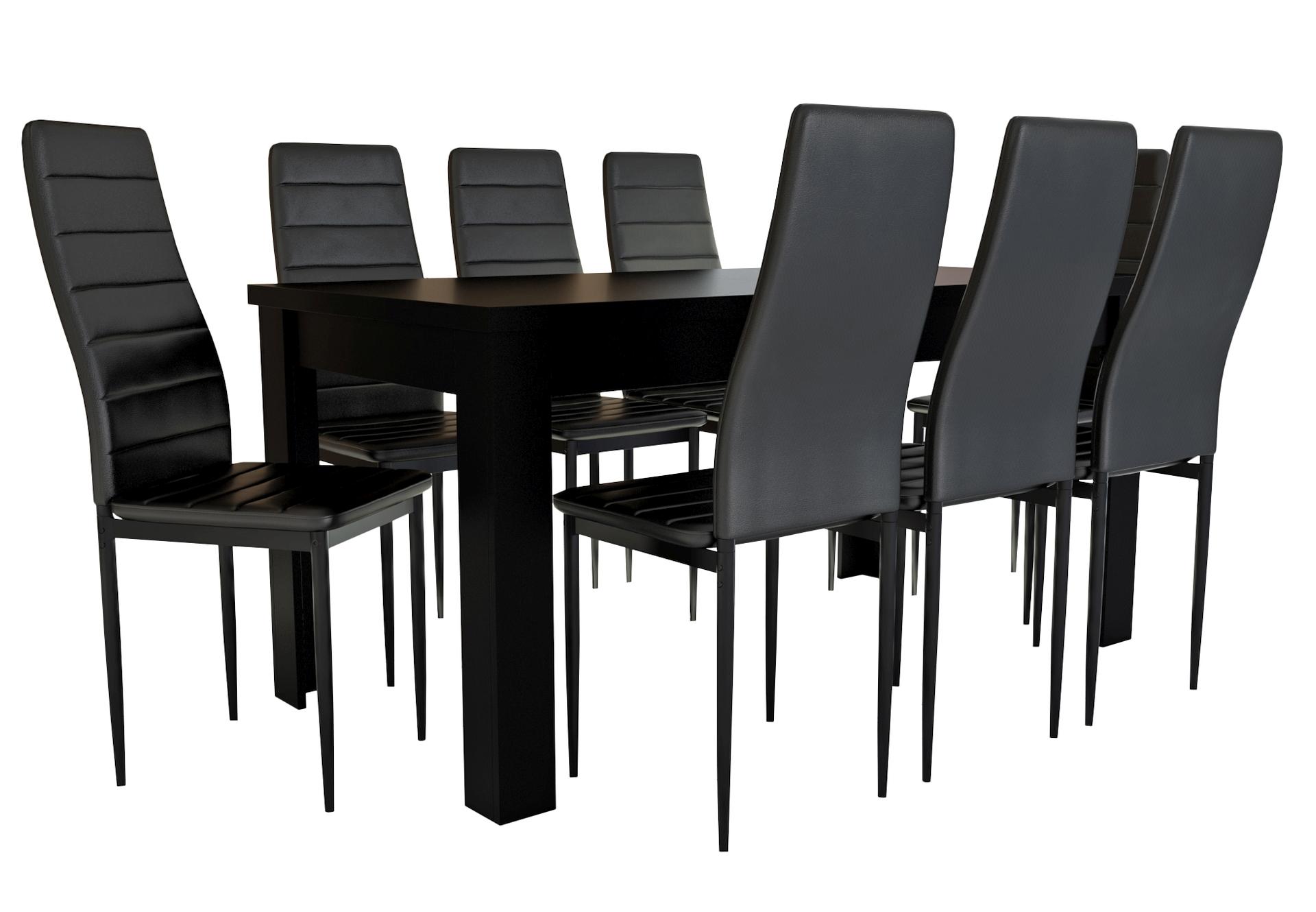 Czarny Zestaw Do Salonu Lub Jadalni Stol Krzesla