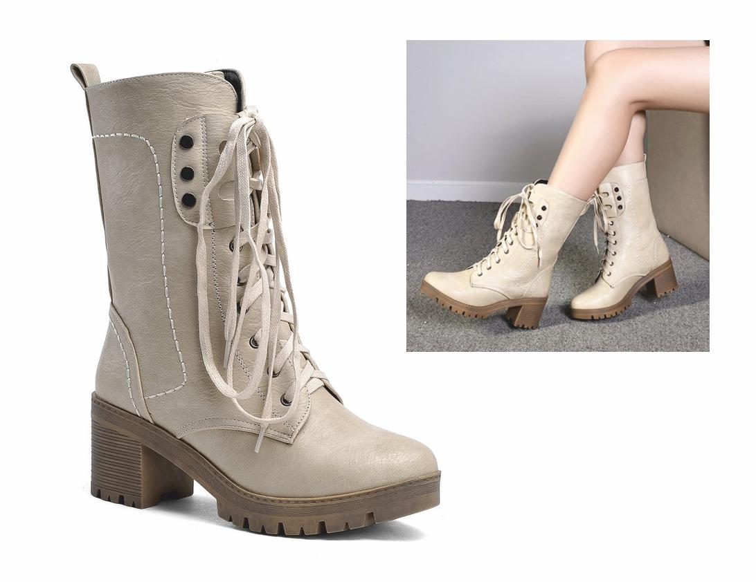 BT50 topánky, členkové topánky RETRO glany POSTARZANE ecru 35