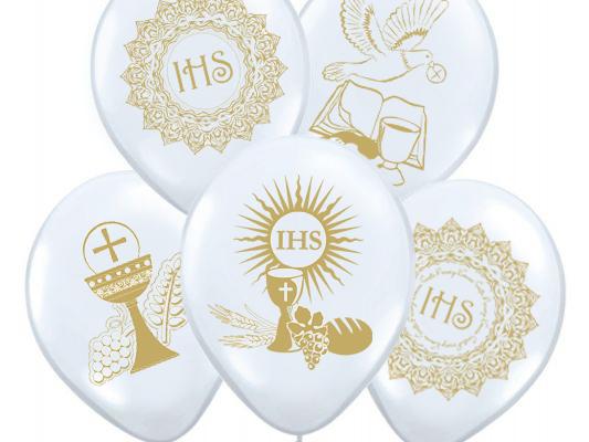 Balony na Komunię Komunijne KOMUNIA BIAŁE 25 szt