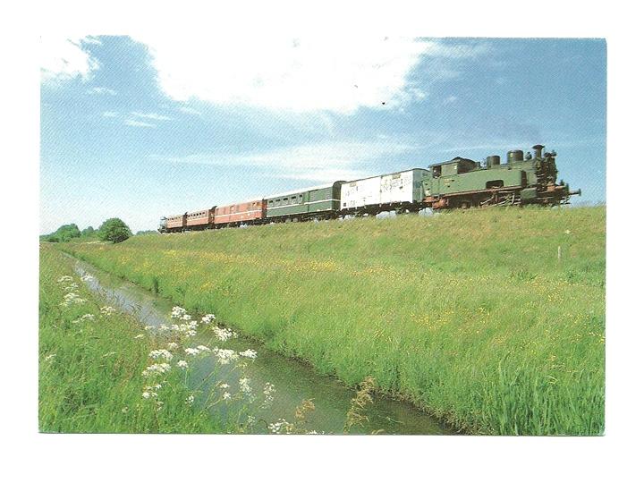 Pocztówka - Stary pociąg nad kanałem / parowóz ...