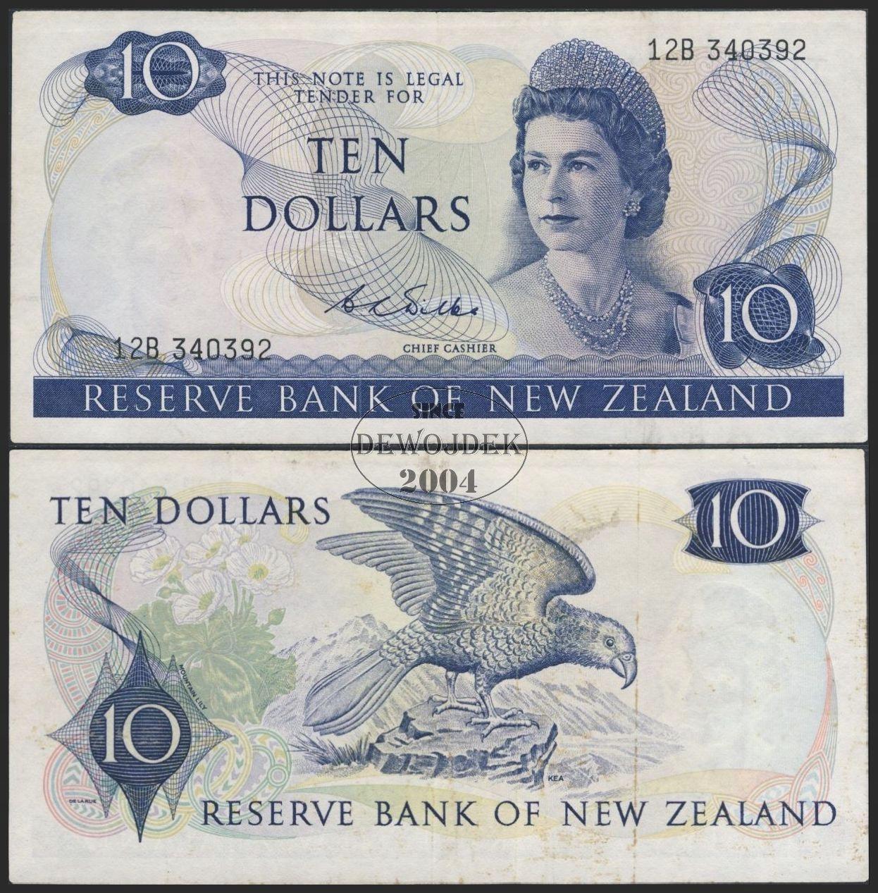 MAX - NOWA ZELANDIA 10 Dollars 1968 # P166b # VF-