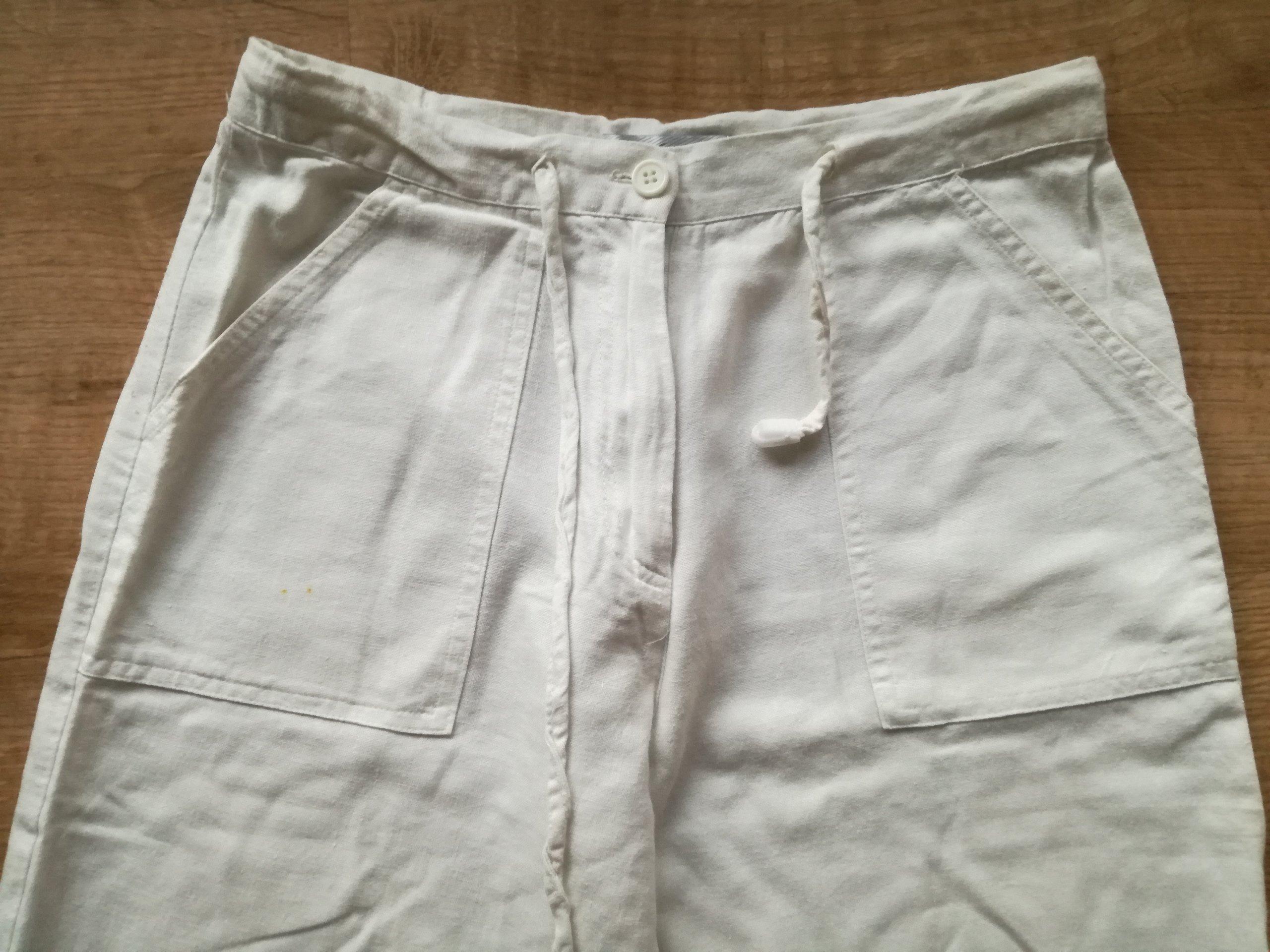 ee52ccfaa9 BIAŁE spodnie LNIANE len lato KRAKÓW - 7307178920 - oficjalne ...