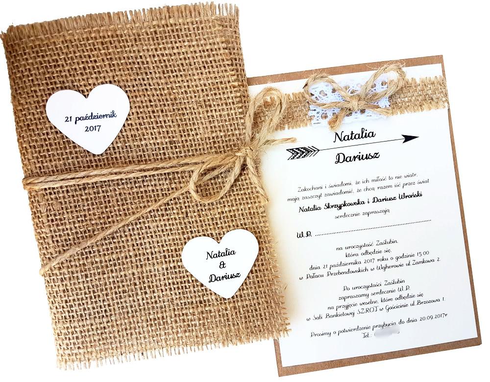 Zaproszenia ślubne Rustykalne Z Jutą I Koronką 6782054945