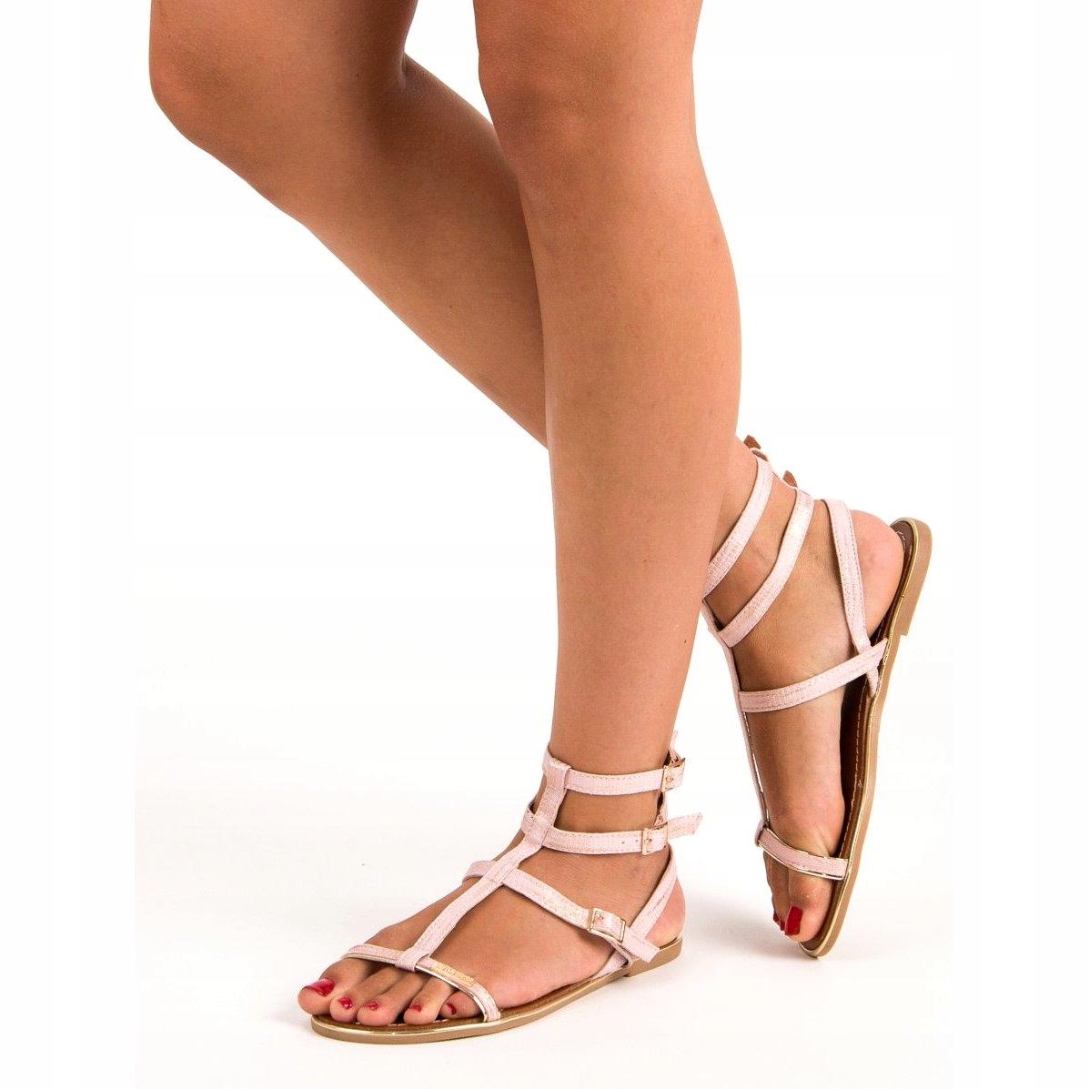 Sandały Damskie na Lato Pudrowe Gumowe Paski R. 36