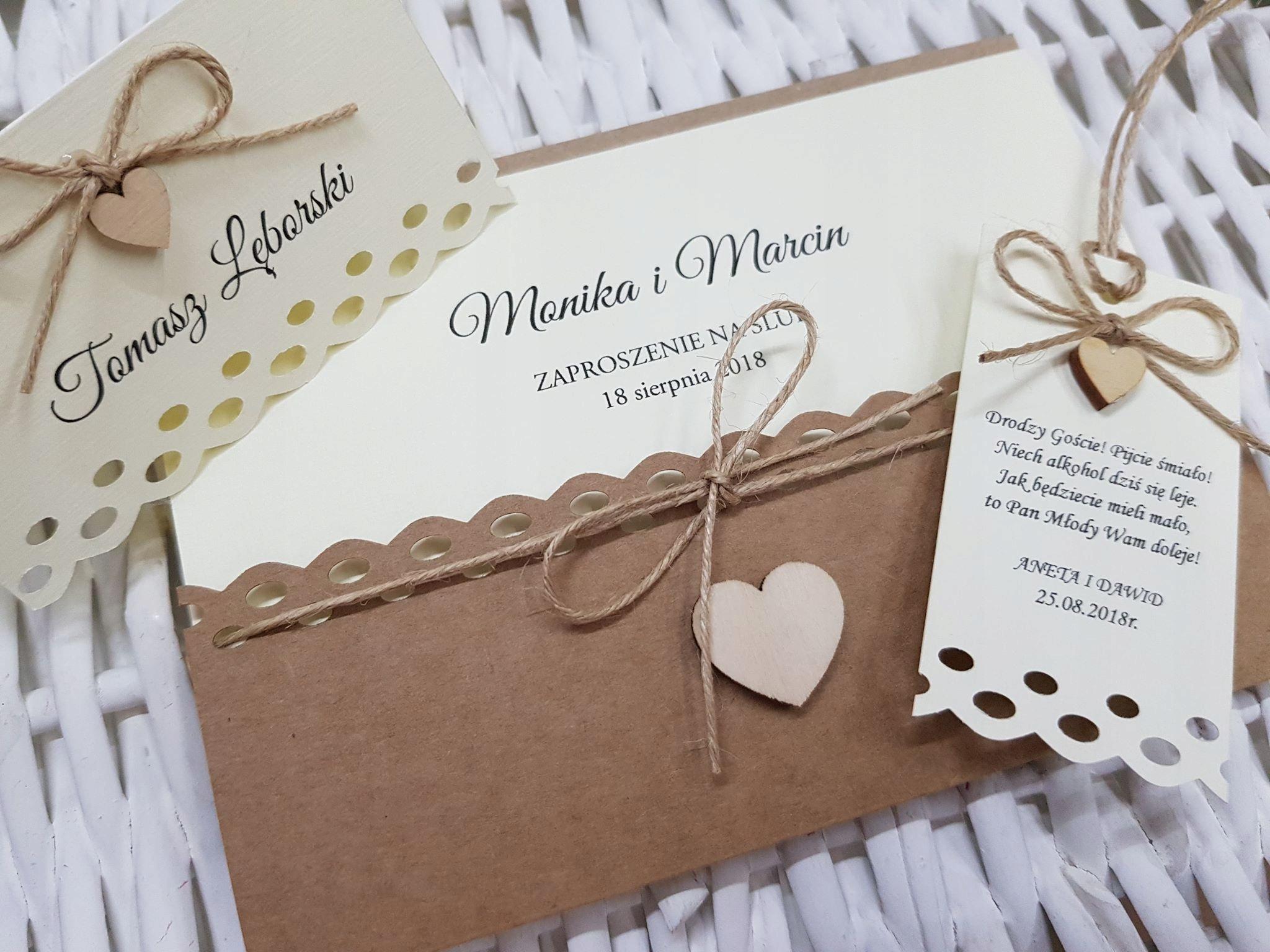 Zaproszenia ślubne Na ślub Rustykalne Eko K658 7504678977