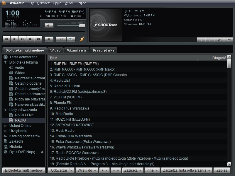 WTYCZKA RADIO INTERNETOWE M3U8 WINAMP FM DAB+ MP3