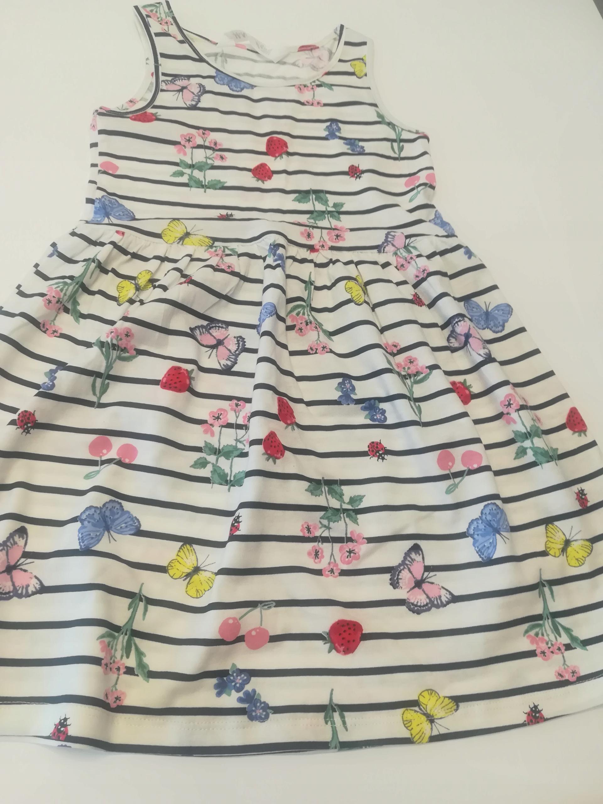 H&M letnia sukienka bawełna, kwiaty, 110-116