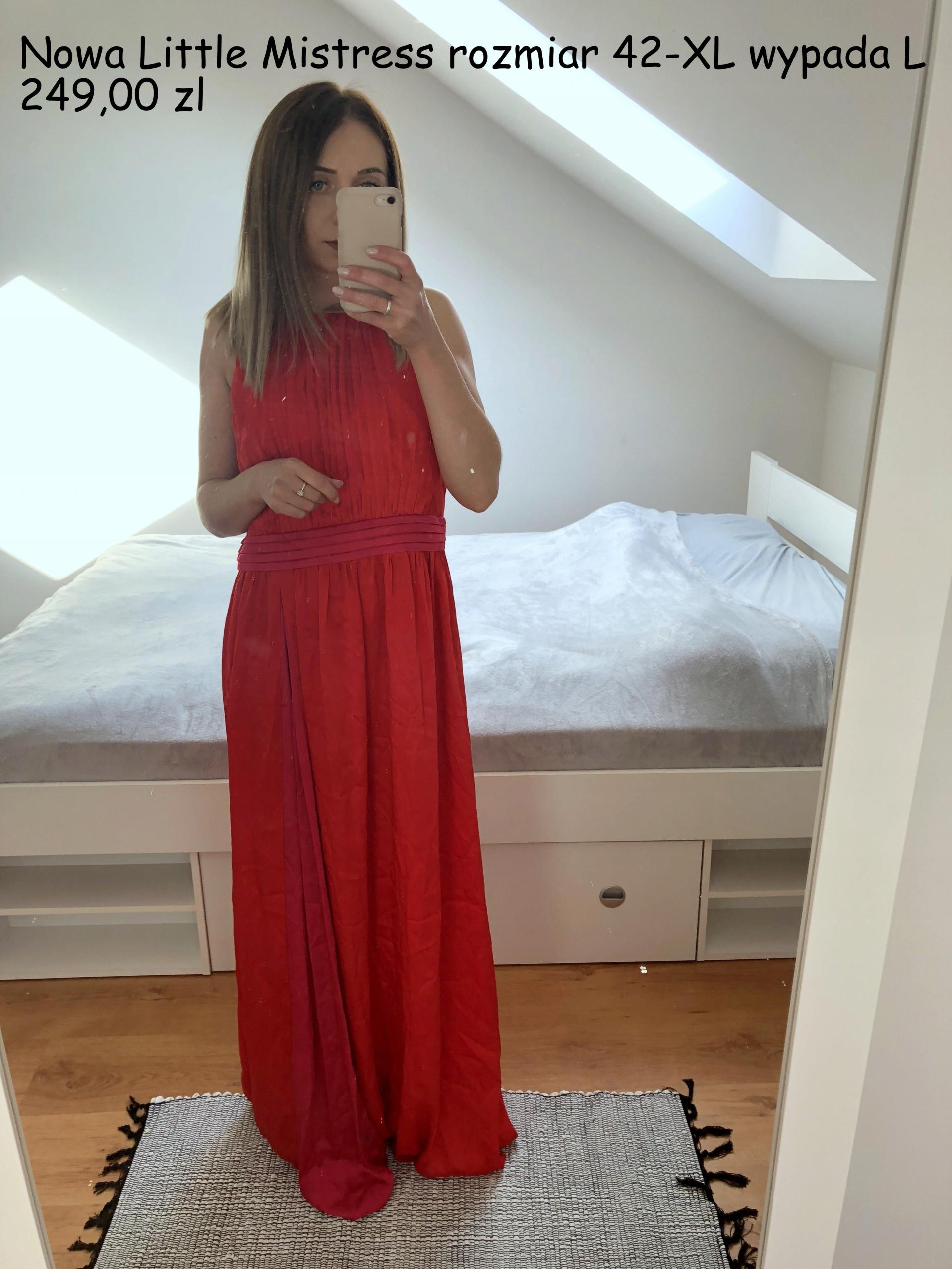 67df3e70 Sukienka Little Mistres nowa czerwona XL elegancka - 7624302905 ...