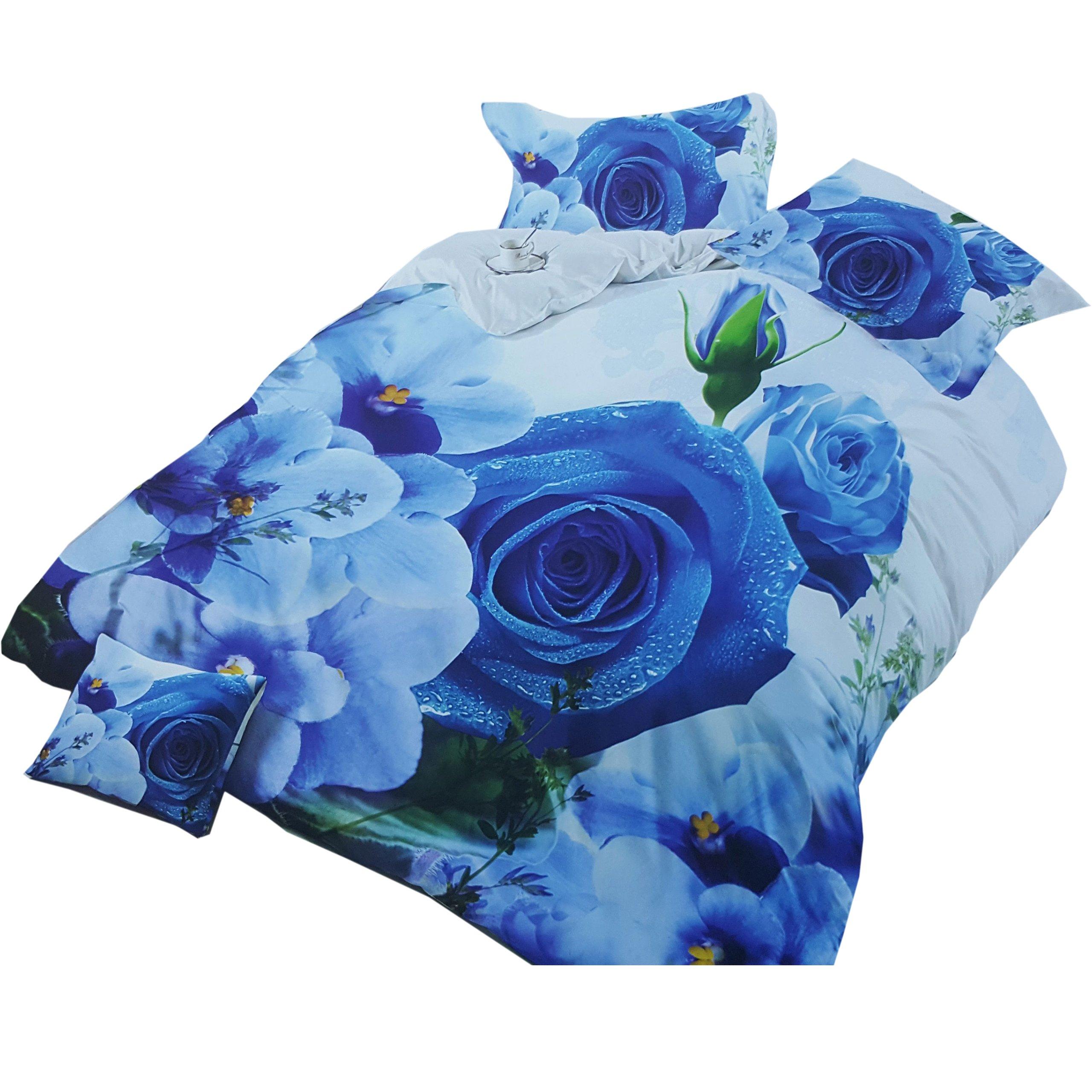 Pościel 3d Niebieskie Róże Kwiaty 160x200 4cz 7305325471