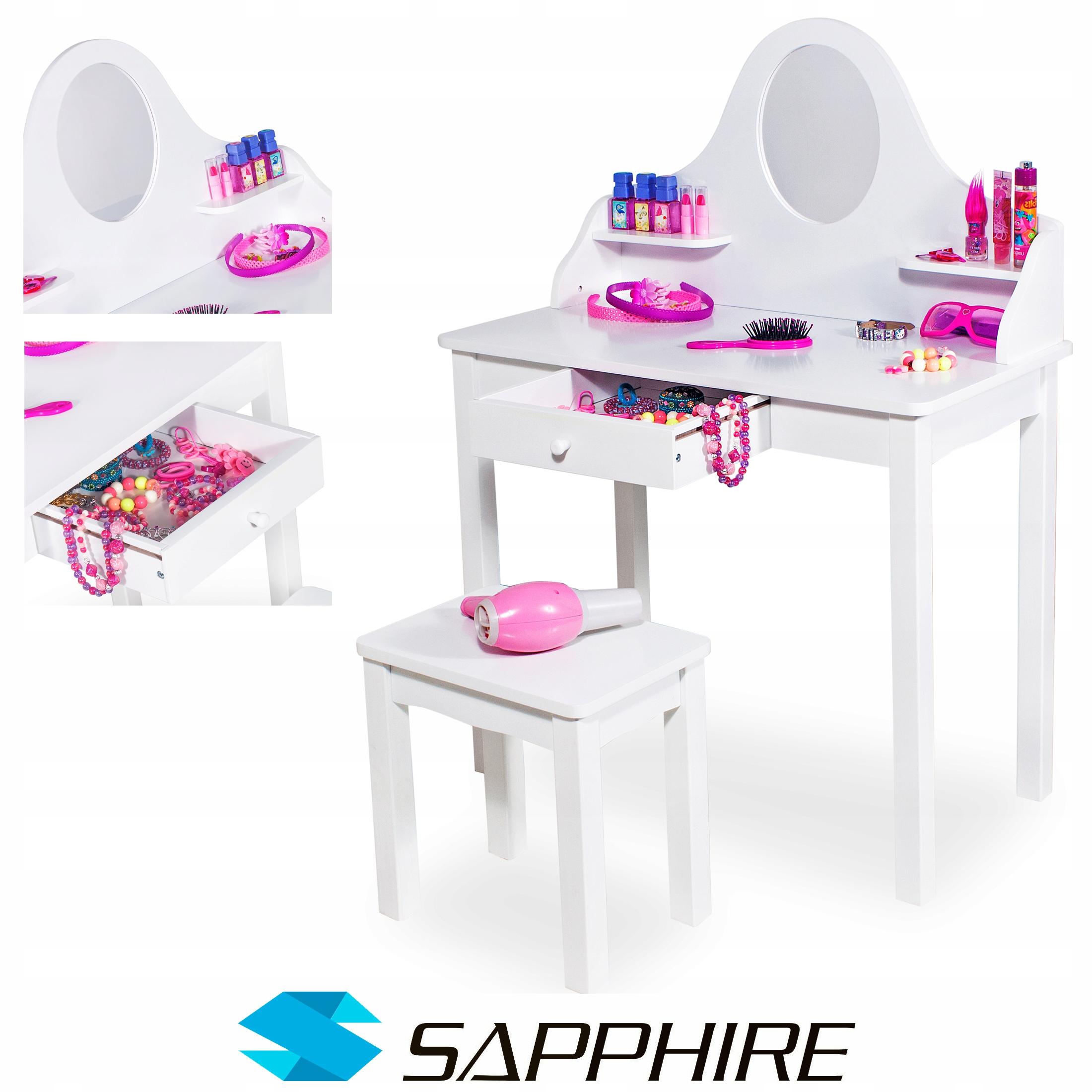 Biała Toaletka Sapphire Dla Dziewczynki Drewniana 7667714630