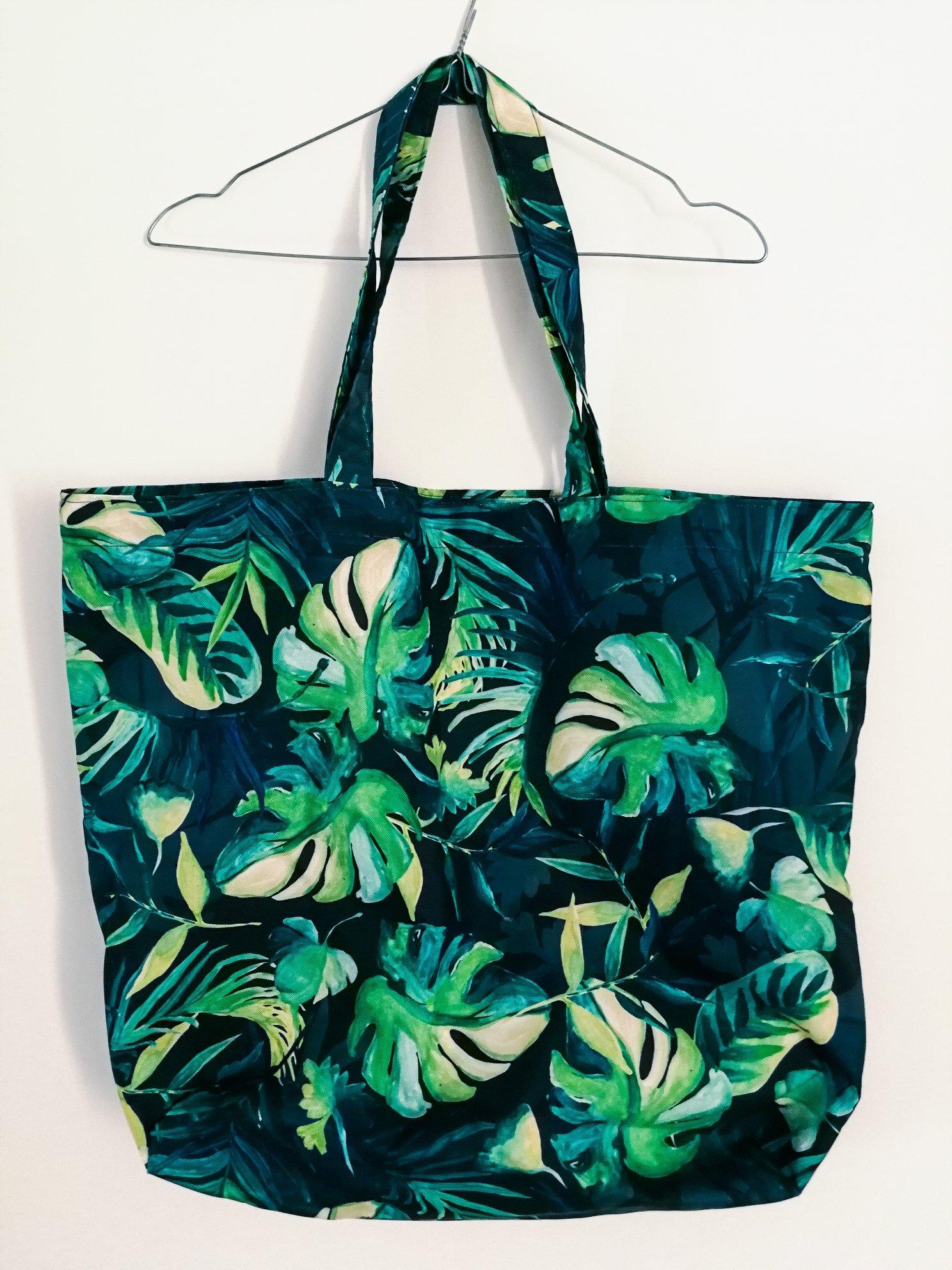 torba plażowa szmaciana liście shoper bag duża